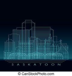 Saskatoon skyline, detailed silhouette.