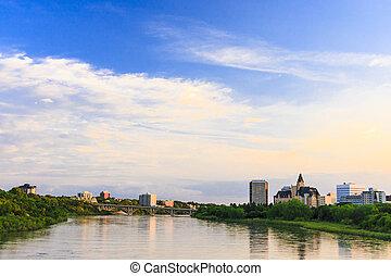 Saskatoon cityscape by the South Saskatchewan River.