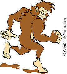sasquatch, arte, bigfoot, clip, ou