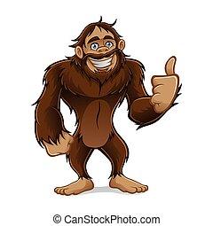 Sasquatch - sasquatch standing friendly smile and a...