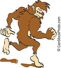 sasquatch, konst, bigfoot, klippa, eller