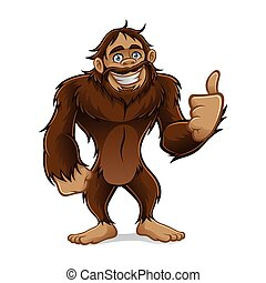 Sasquatch - sasquatch standing friendly smile and a thumbs-...