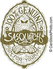 sasquatch, woodcut, etiqueta