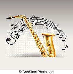 sassofono, con, note musica, in, fondo