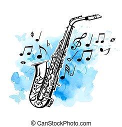 sassofono, su, uno, blu, acquarello, fondo