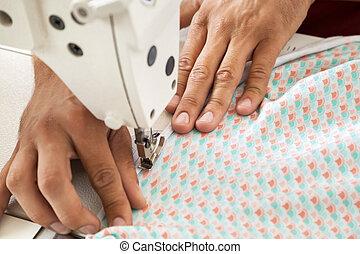 sastre, fábrica, costura, tela