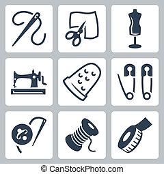 sastre, vector, conjunto, costura, iconos