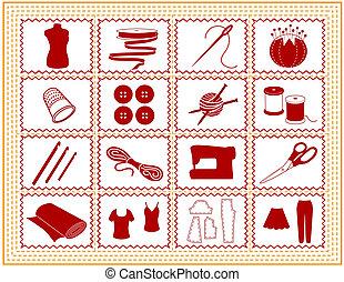 sastrería, tejer, arte, costura, icono
