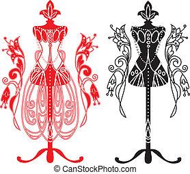 sastres, vestido, maniquí
