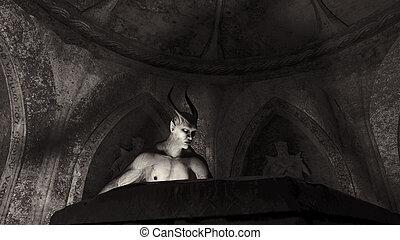 satã, anjo, caído, cripta