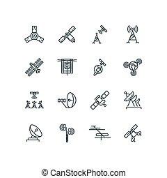 satélite, ícones, comunicação, órbita, vetorial, linha