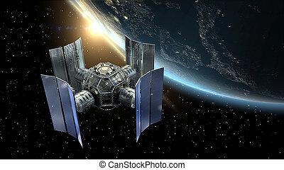 satélite, 3d, o, ilustración, spacelab