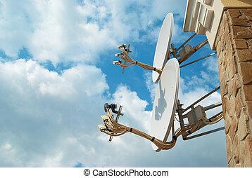 satélite, antena