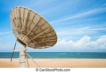 satélite, antena, suelo