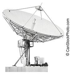 satélite, antena, transatlanti, grande, plato, diseñado, ...
