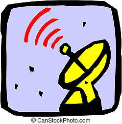 satélite, antenna.