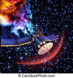 satélite, arriba, artificial, quemado, tiene, caer
