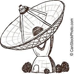 satélite, astronómico, estilo, bosquejo