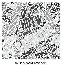 satélite, conceito, tv, texto, hdtv, 1, wordcloud, fundo