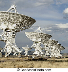 satélite, cuadrado, tiro, platos
