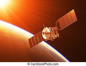 satélite, en, el, rayos, de, sol creciente