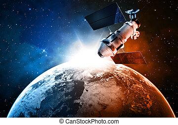 satélite, en, espacio