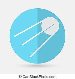 satélite, estação, astronauta, fundo, branca, ícone