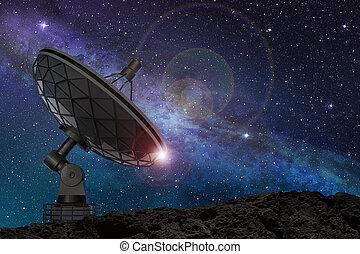 satélite, estrellado, debajo, cielo, noche, plato