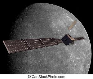 satélite, explorar, mercurio