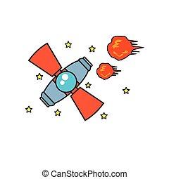 satélite, explosão, estrelas, espaço