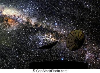 satélite, galaxia, amueblado, esto, imagen, dos, elementos, disco, nasa