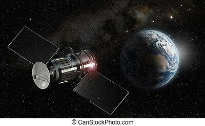satélite, girar alrededor de la tierra, 3d, ilustración, -,...