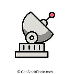 satélite, icono, aislado, antena, comunicación