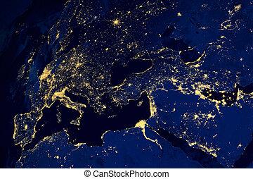 satélite, mapa, de, ciudades europeas, noche