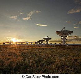 satélite, ocaso, platos