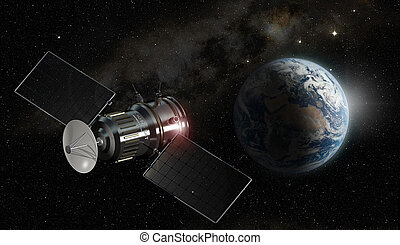 satélite, orbiting terra, 3d, ilustração, -, elementos, de,...