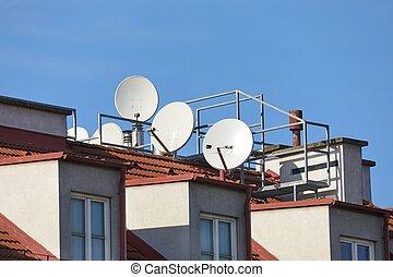 satélite, tejado, parábola, receptores