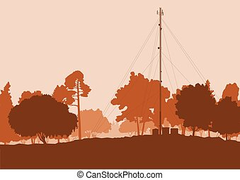 satélite, telecomunicación, antenas de la televisión, vector, bosque, plano de fondo, plato, torre, paisaje