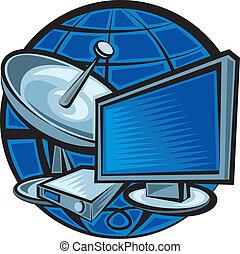 satélite, televisão
