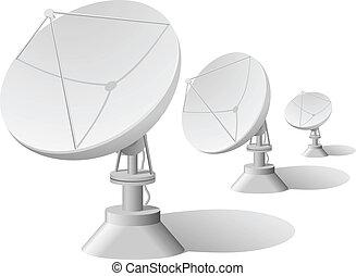 satélite, vector, ilustración, platos, fila
