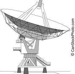 satélite, vector, plato