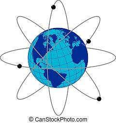 satélites, tierra