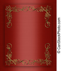 satén del oro, ornamentos, plano de fondo, rojo