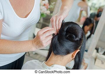 Sat in the hair salon