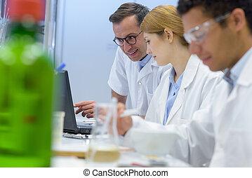 sat, laboratorium, werkende , bankje, roeien, wetenschappers