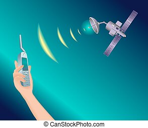 Satellite in space transmits a signal.