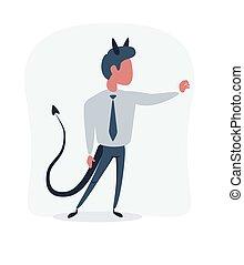 satan, ビジネスマン, pointing., スーツ, 漫画, 悪魔