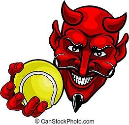 satan, dessin animé, diable, mascotte, tennis, sports, balle