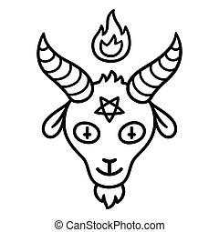 Satan goat head - Cartoon style Satan drawing, goat head...