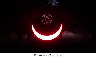 satan, signe, sacré, croissant, paganisme, style., vendange, ésotérique, signe., magie, occultism., alchimie